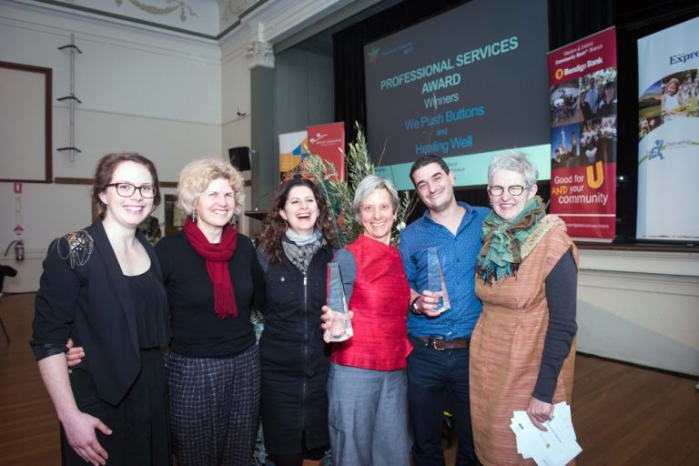 Joint winners of Professional Services Award - Rima and team fromm Healing Well and Rob Jennings from We Push Buttons and major sponsor, Genevieve Barlow from Maldon & District Community Bank Branch(Photo credit: Brendan McCarthy)