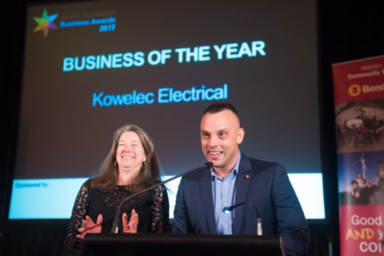 Julie Roberts and Adrian Kowal receive the Business of the Year award for Kowelec Electrical Service(Photo credit: Brendan McCarthy)
