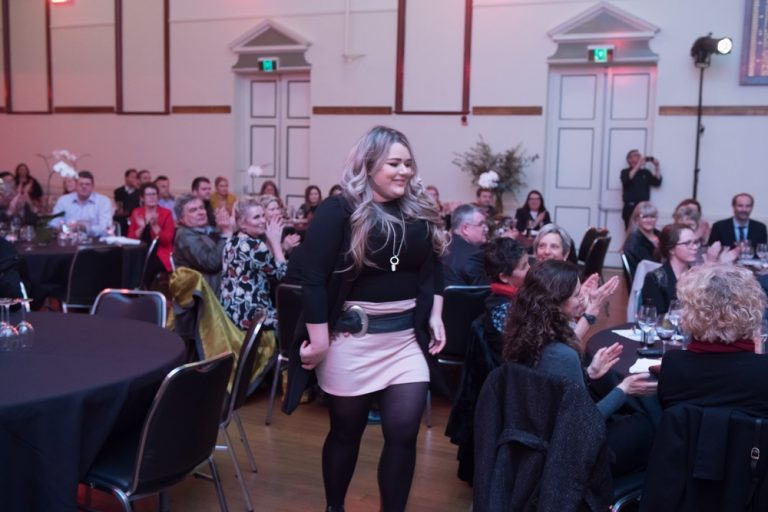 Micro Business Award winner makes her way to the stage! Well done Tori!(Photo credit: Brendan McCarthy)