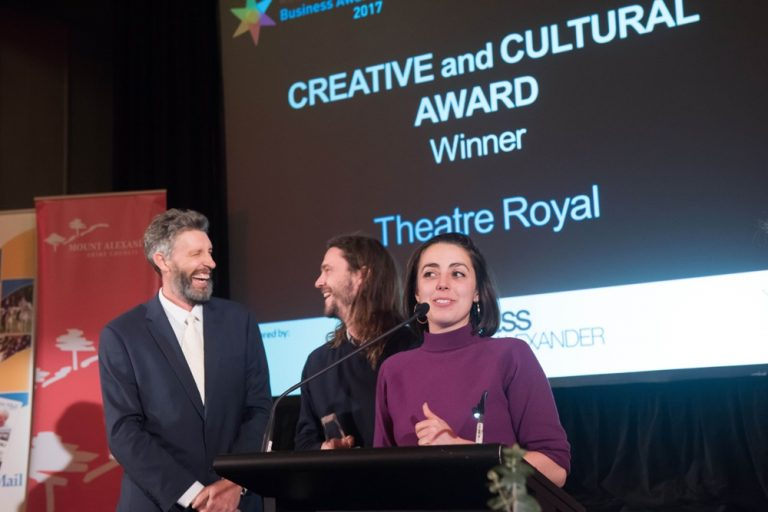 Andrea Distefano from Theatre Royal Castlemaine accepts the Creative and Cultural Award - congrats!(Photo credit: Brendan McCarthy)
